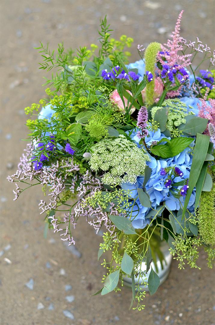 Bouquet en tons bleus