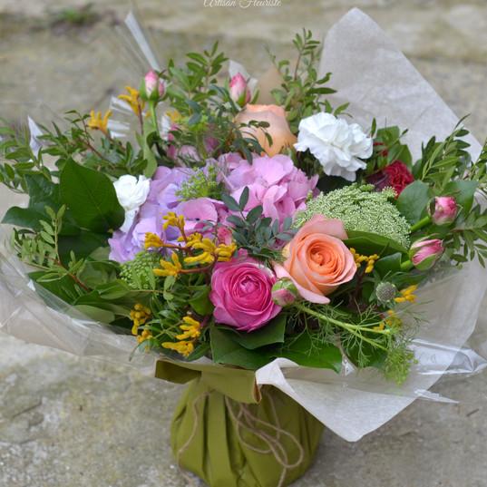 Bouquet rond deuil coloré