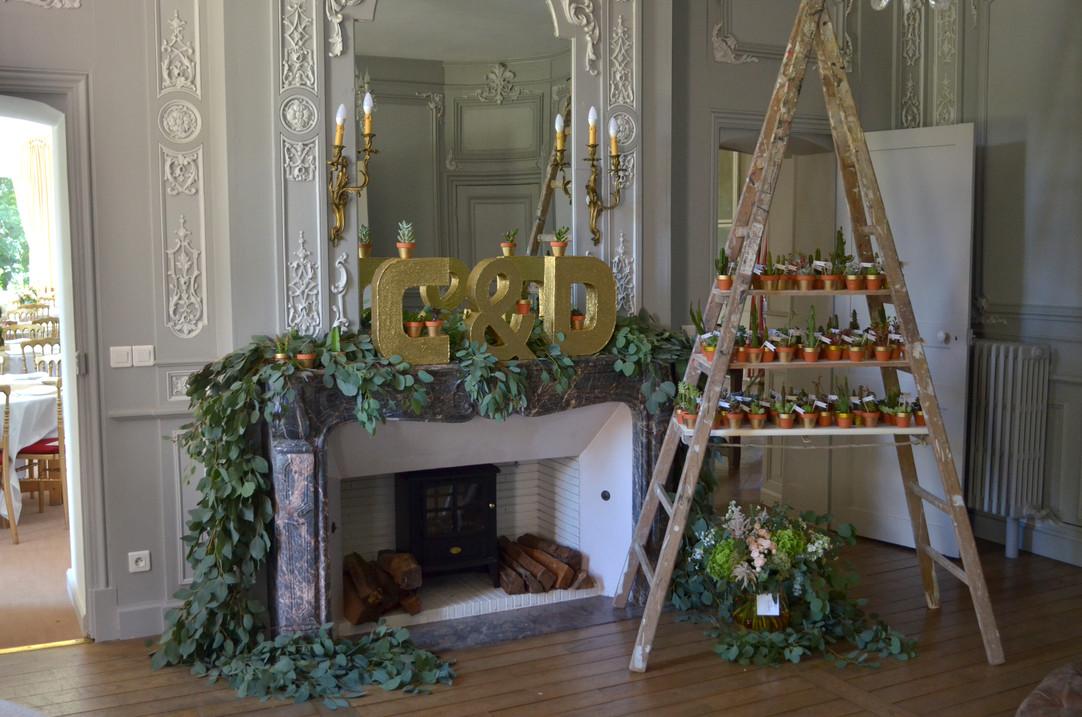 Mariage bohême décoration cheminée