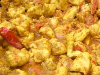 Poulet sauté au curry + Riz nature