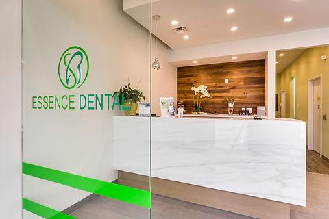 Reception desk at Essence Dental Aurora.  Your Aurora Dentist
