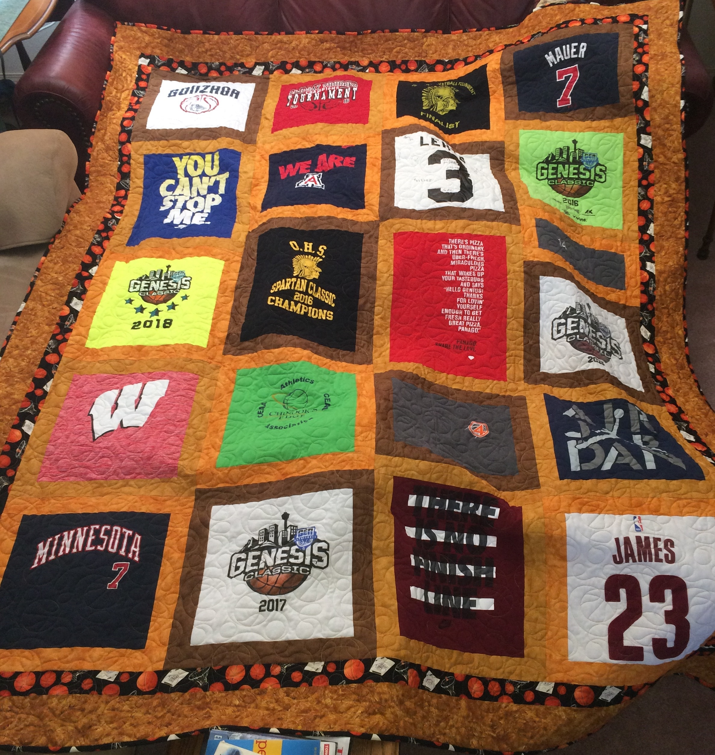 Heidecker's Basketball Quilt Completed 2