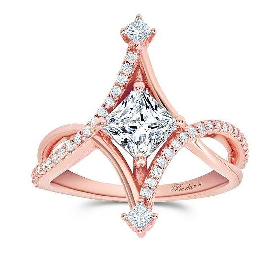 8217LP ROSE GOLD UNIQUE PRINCESS CUT DIAMOND ENGAGEMENT RING
