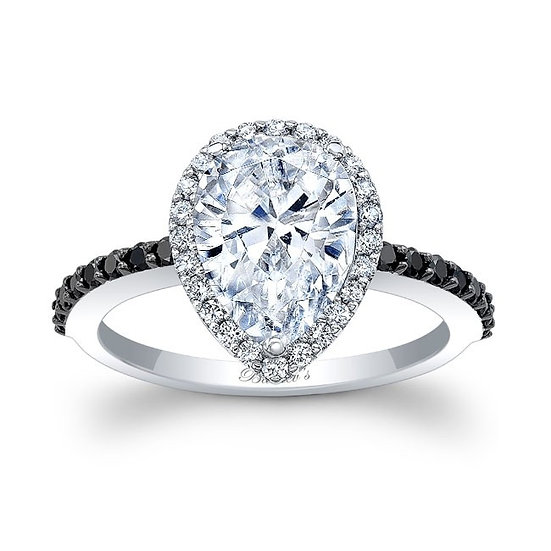 7994LBK BLACK AND WHITE DIAMOND PEAR SHAPE ENGAGEMENT RING