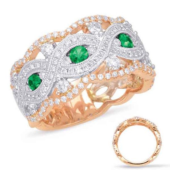 1.15 ctw. ROSE & WHITE GOLD EMERALD & DIAMOND RING