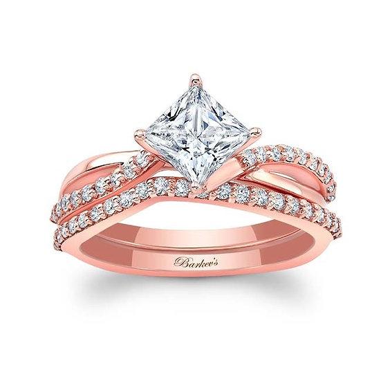 8076SP ROSE GOLD PRINCESS CUT BRIDAL SET