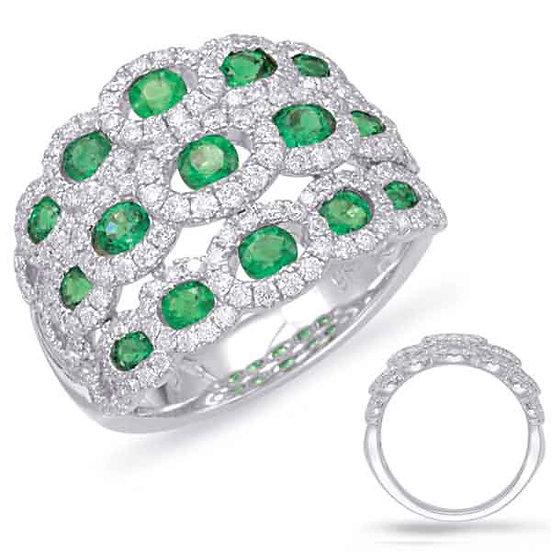 1.89 ctw. WHITE GOLD EMERALD & DIAMOND RING