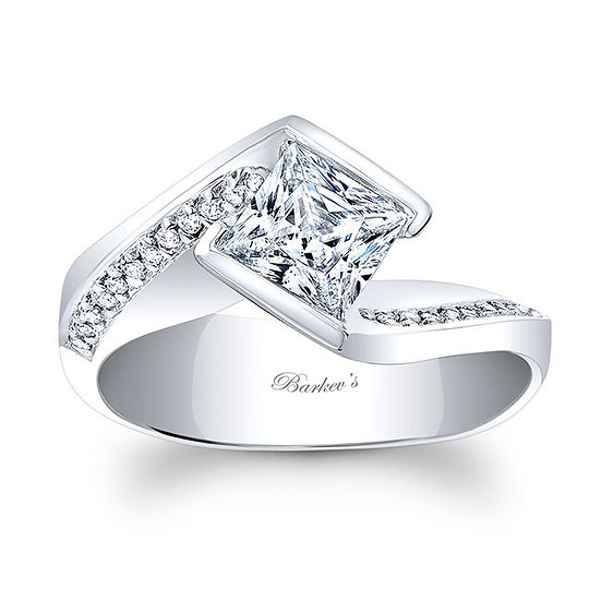 8032L WHITE GOLD PRINCESS CUT ENGAGEMENT RING