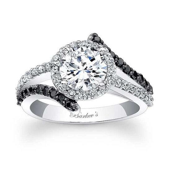 7857LBK BLACK DIAMOND HALO ENGAGEMENT RING