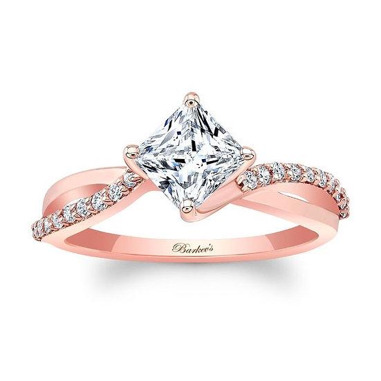 8076LP ROSE GOLD PRINCESS CUT ENGAGEMENT RING