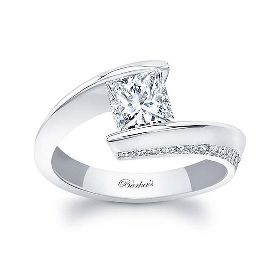 8163L WHITE GOLD PRINCESS CUT ENGAGEMENT RING