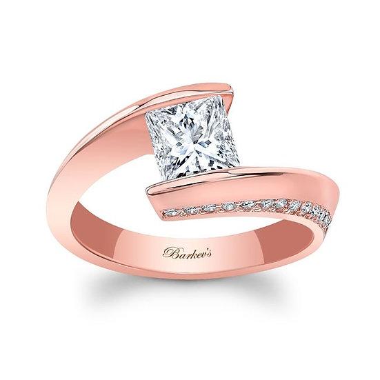 8163LP ROSE GOLD PRINCESS CUT ENGAGEMENT RING