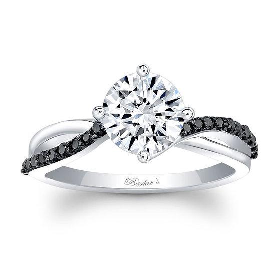 8077LBK BLACK DIAMOND WHITE GOLD ENGAGEMENT RING WITH BLACK DIAMONDS