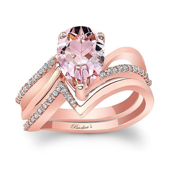 8213SP ROSE GOLD PEAR SHAPE MORGANITE BRIDAL SET