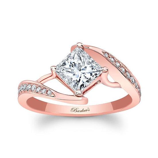 8156LP ROSE GOLD PRINCESS CUT ENGAGEMENT RING
