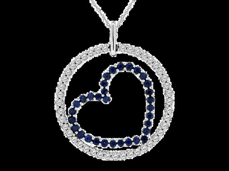 DIAMOND & SAPPHIRE  HEART PENDANT