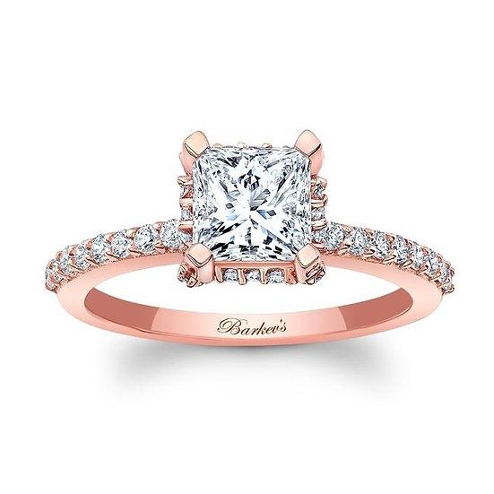 8158LP ROSE GOLD PRINCESS CUT DIAMOND ENGAGEMENT RING