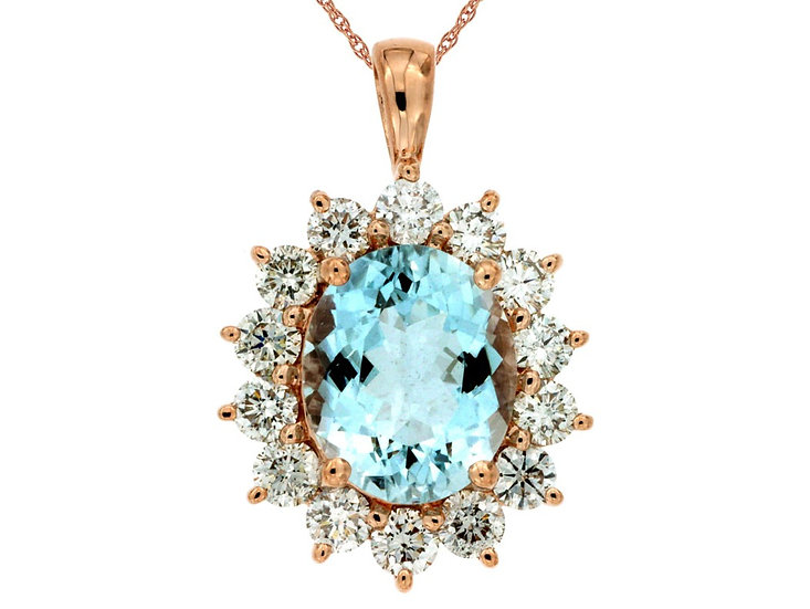 DIAMOND & AQUAMARINE PENDANT PP3863Q