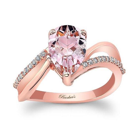 8213LP ROSE GOLD PEAR SHAPE MORGANITE ENGAGEMENT RING