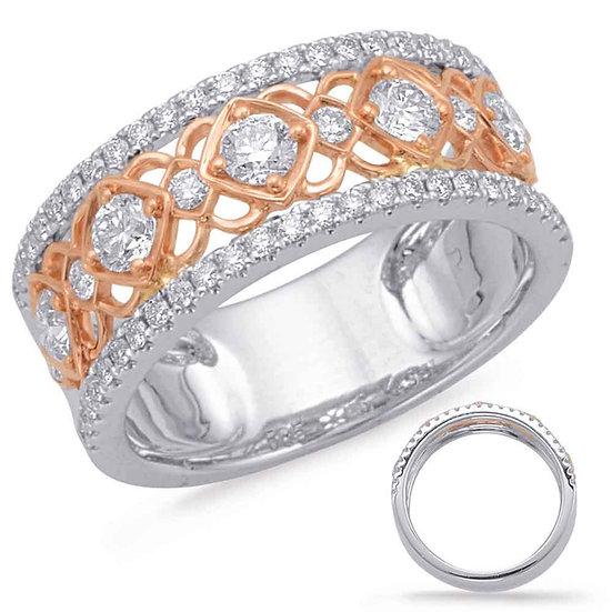 0.89 ctw. ROSE & WHITE GOLD DIAMOND FASHION RING