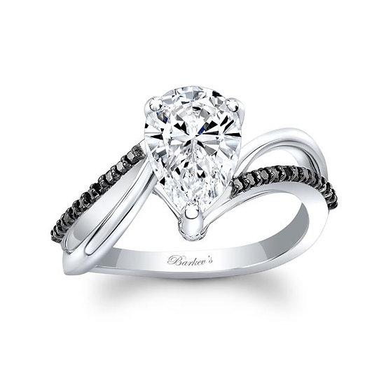 8213LBK BLACK DIAMOND PEAR SHAPE ENGAGEMENT RING