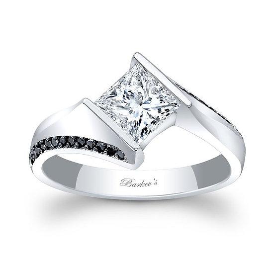 7840LBK BLACK DIAMOND PRINCESS CUT ENGAGEMENT RING