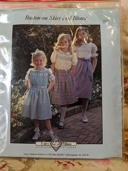 """Chery Williams """"Button-on Skirt and Blouse"""" pattern"""