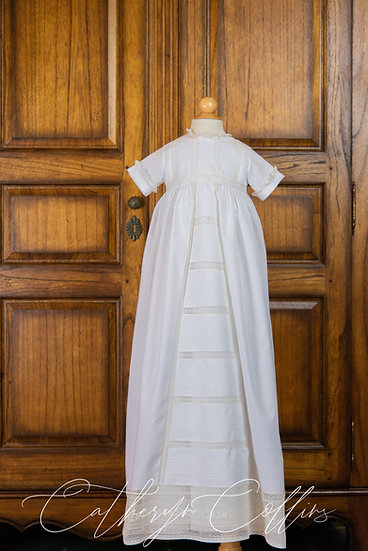 Timothy Christening Gown with Pin Tuck Panel