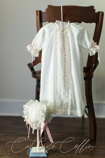 Ivory Day Gown with Ribbon Insertion and Bonnet