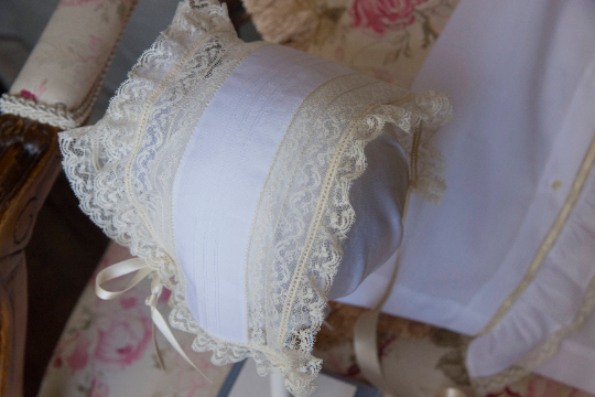 T-cap Bonnet with Pin Tucks and French Maline Lace