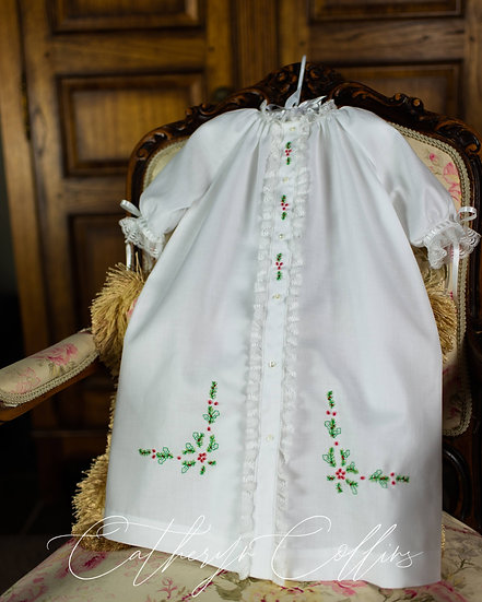 Front Opening Day Gown with Christmas Embroidery