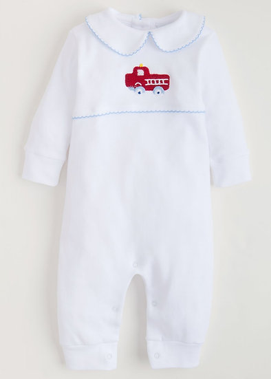 Little English Blue Fire Truck Playsuit