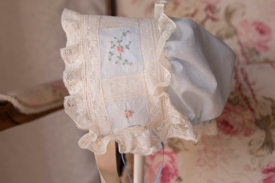 Embroidered Bonnet with Drawstring Back