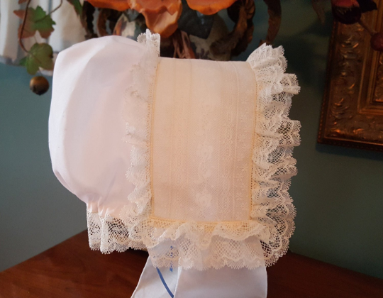 Double Ruffled Bonnet with Drawstring Back and Fabric Streamers
