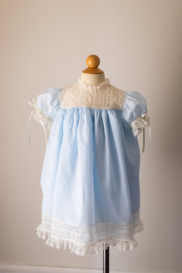Blue Heirloom Dress with Lace Yoke