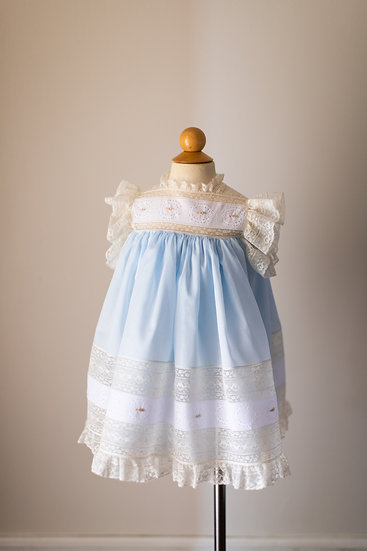 Blue Heirloom Dress with Hand Embroidered Swiss Insertions