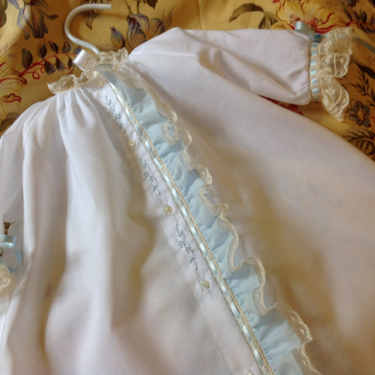 Day Gown with Blue Fabric Ruffle