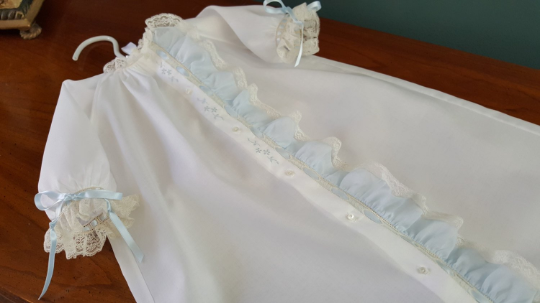 Day Gown with Blue Fabric Ruffle (Style #2)
