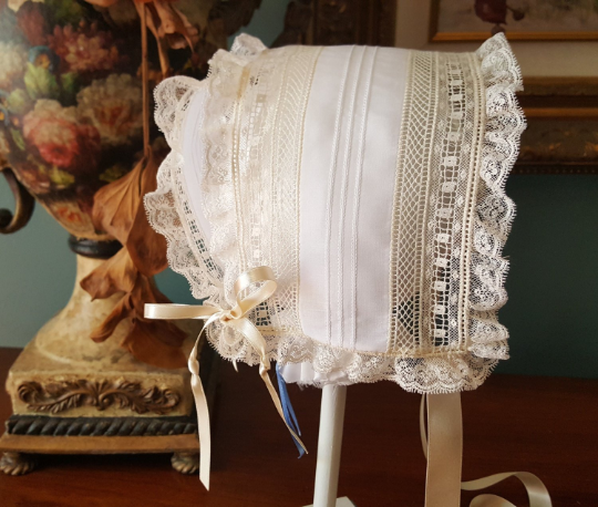 T-cap Bonnet with Pin Tucks and French Maline and Spanish Lace