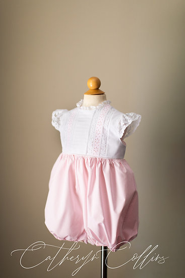 Pink Gingham Girl's Bubble with Lace Cap Sleeves