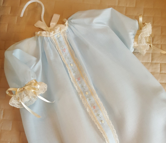Front Opening Day Gown with Lace Applied Flat (Style #2)