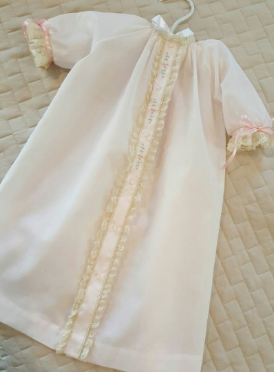 Front Opening Day Gown with Lace Applied Flat (Style #3)