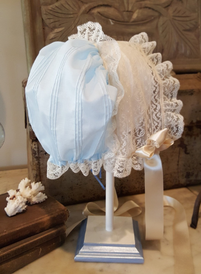 Pin Tucked Puff Bonnet with Drawstring Back