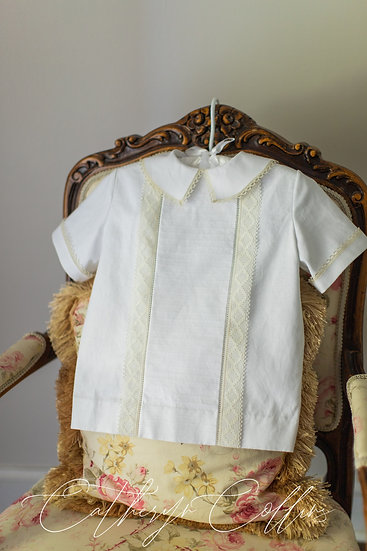 Linen Overshirt with  Filet Edging and Linen Shorts