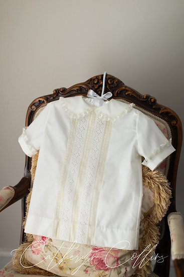 Ivory Overshirt with  Center Lace Panel of Vintage Laces (Size 5)
