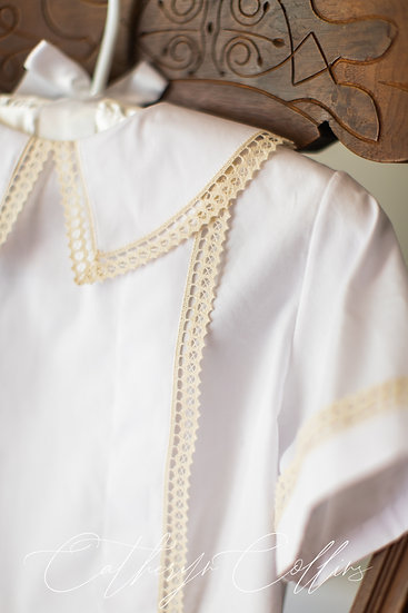 White Boy's Overshirt with Spanish Cluny Lace