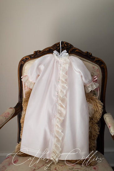 Pale Pink Day Gown with Lace Placket Ruffle