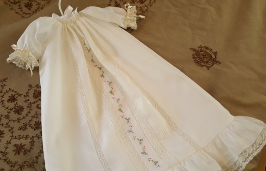 Christmas Day Gown with Pin Tucks and Embroidery