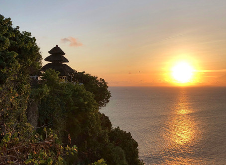 Precariously perched between Heaven and Earth - Uluwatu temple of Bali, Indonesia.