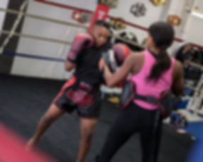 Raquel Harris fires an uppercut.